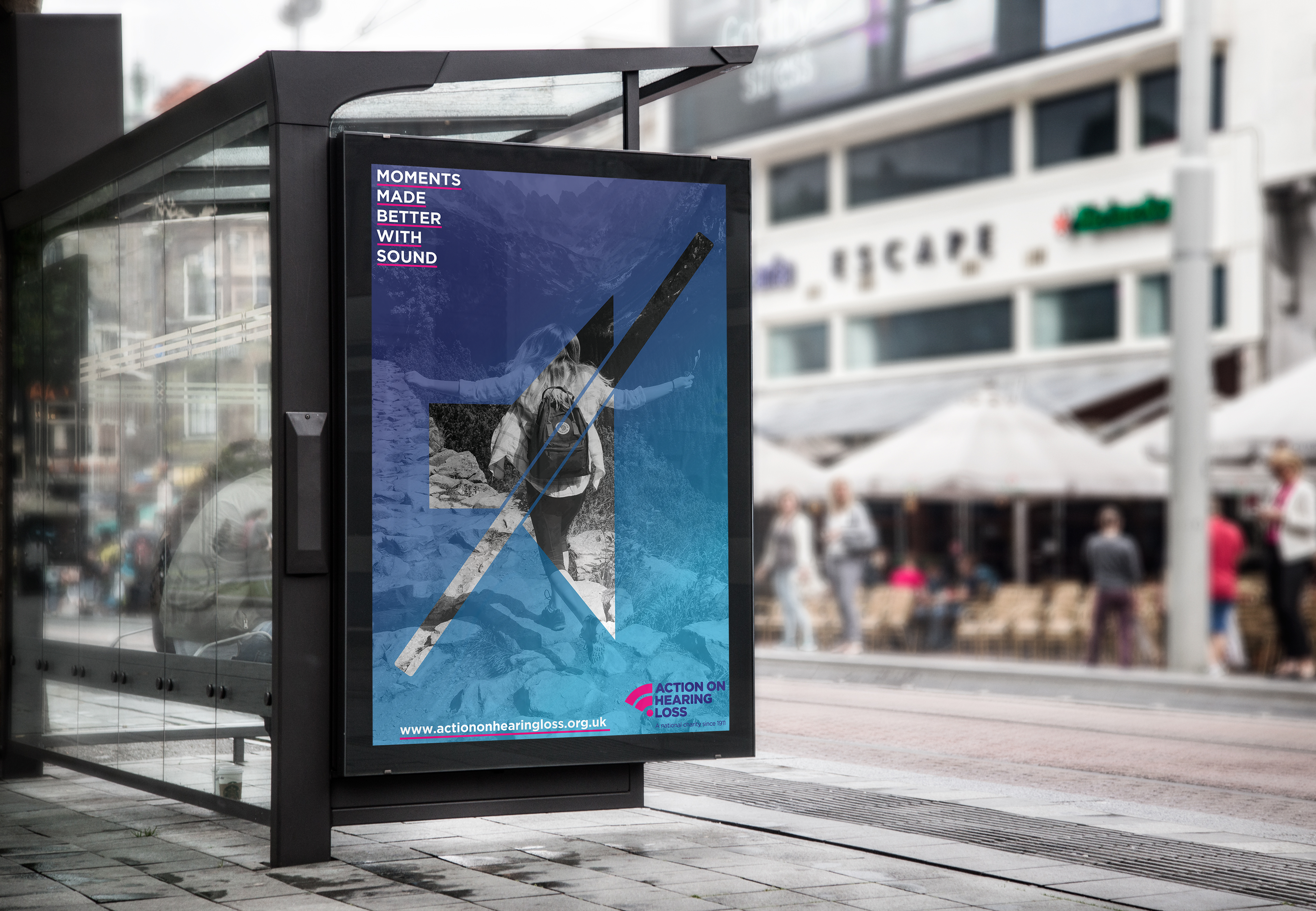 Bus Stop Advertisement raising awareness on loss of hearing in young adults